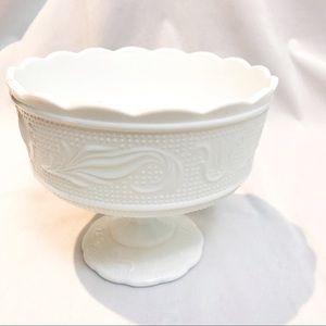 White milk glass vintage planter